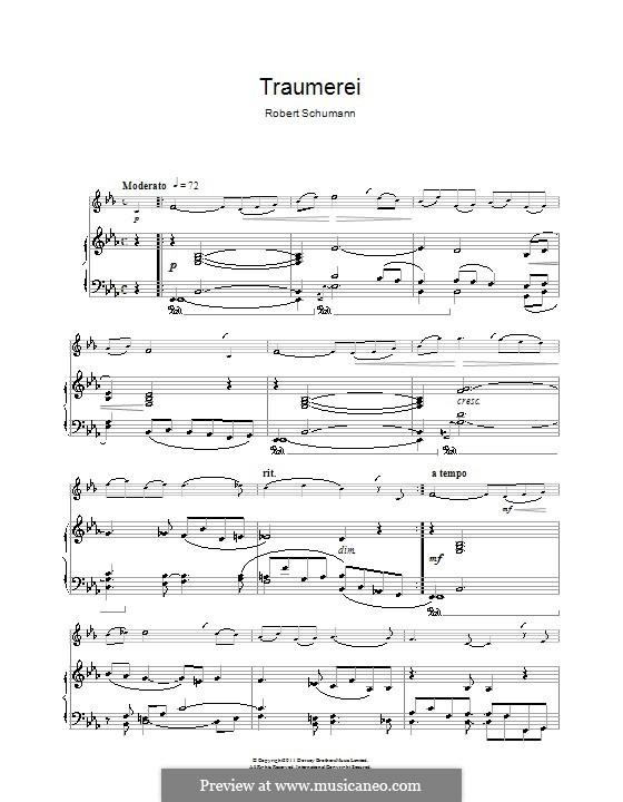 No.7 Träumerei (Dreaming): para clarinete e piano by Robert Schumann