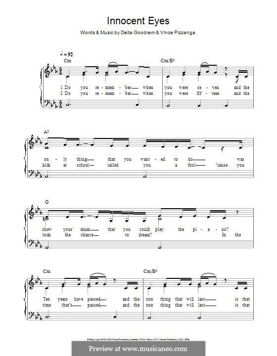Innocent Eyes: Facil para o piano by Delta Goodrem, Vince Pizzinga