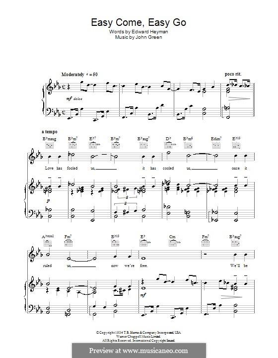 Easy Come, Easy Go: Para vocais e piano (ou Guitarra) by John W. Green