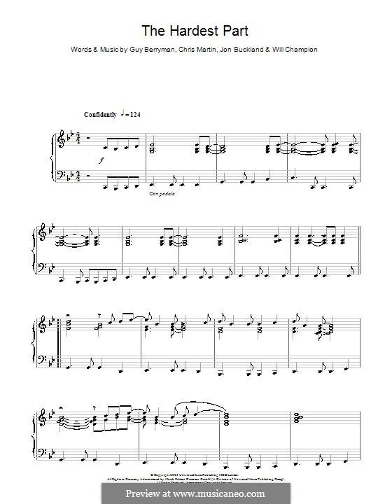 The Hardest Part (Coldplay): Para Piano by Chris Martin, Guy Berryman, Jonny Buckland, Will Champion