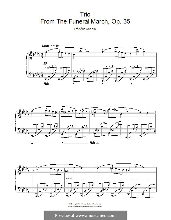 Sonata for Piano No.2 in B Flat Minor, Op.35: Movement III (Trio), for easy piano by Frédéric Chopin