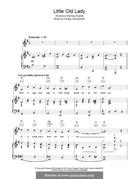 Little Old Lady: Para vocais e piano (ou Guitarra) by Hoagy Carmichael