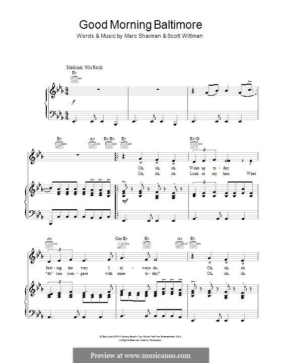 Good Morning Baltimore (from Hairspray): para voz e piano ou guitarra (E flat maior) by Marc Shaiman