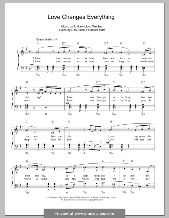 Love Changes Everything: Para vocais e piano by Andrew Lloyd Webber