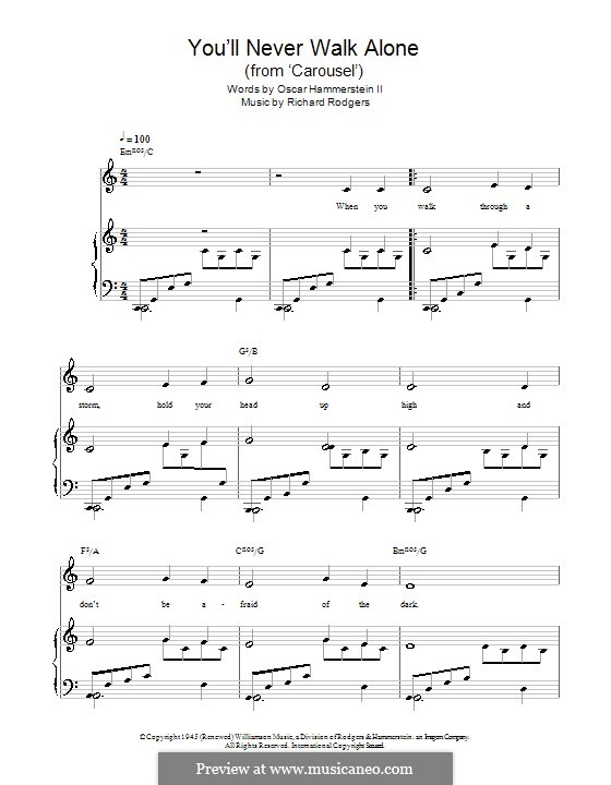 You'll Never Walk Alone (from Carousel): para vocais,piano ou guitarra by Richard Rodgers