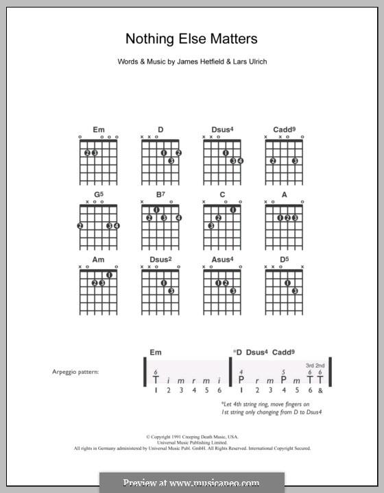 Nothing Else Matters (Metallica): Para Guitarra by James Hetfield, Lars Ulrich