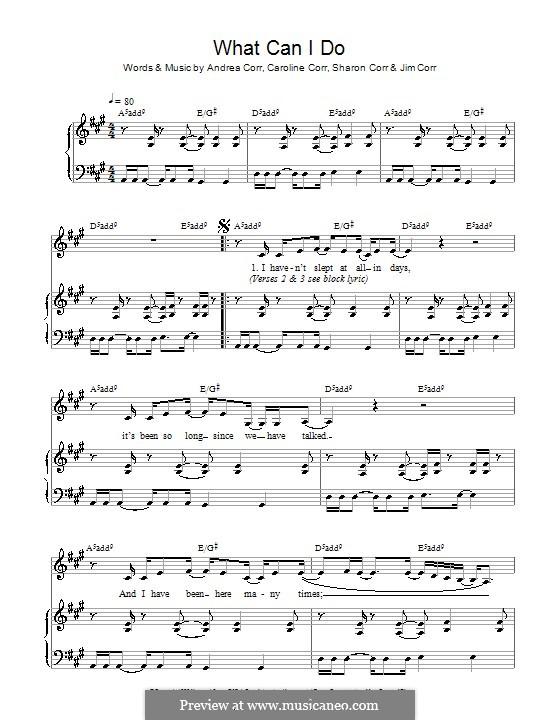What Can I Do (The Corrs): Para vocais e piano by Andrea Corr, Caroline Corr, Jim Corr, Sharon Corr