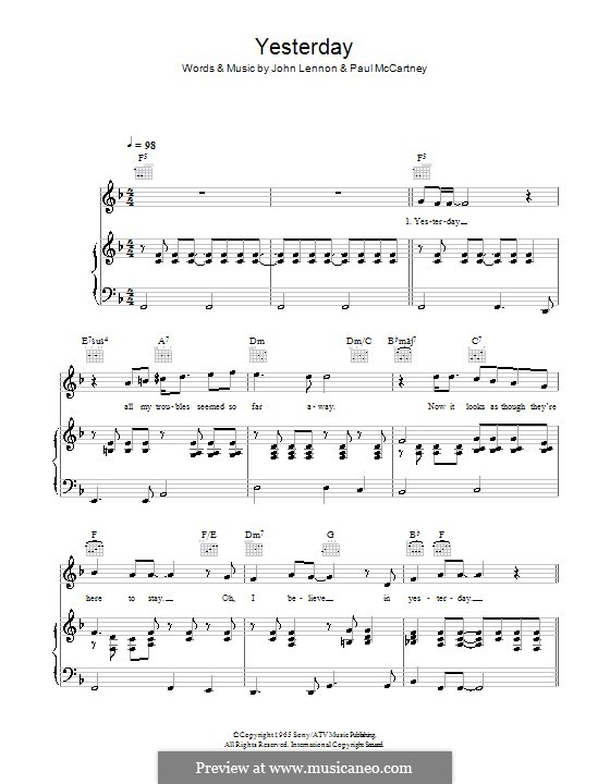 Yesterday (The Beatles): para voz, piano e guitarra (F Major) by John Lennon, Paul McCartney