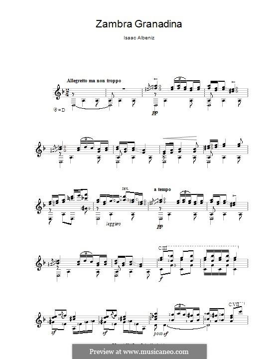 Spanish Suite, Op.97: No.4 Zambra granadina, for guitar by Isaac Albéniz
