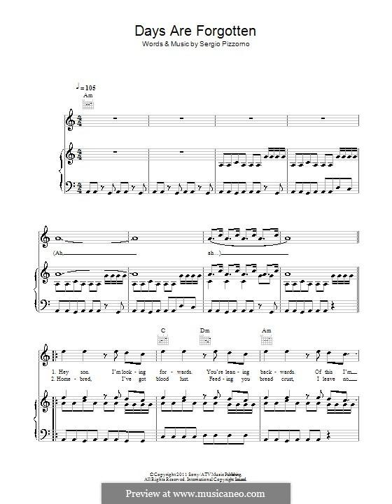 Days Are Forgotten (Kasabian): Para vocais e piano (ou Guitarra) by Sergio Pizzorno