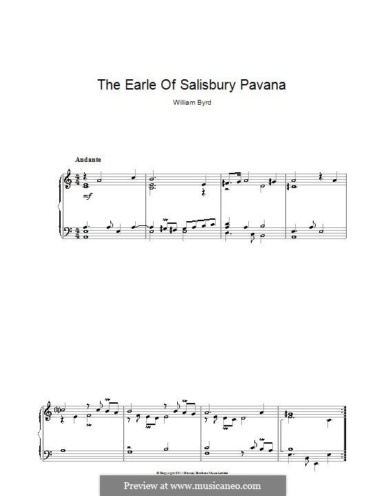 The Earle of Salisbury Pavana: Para Piano by William Byrd