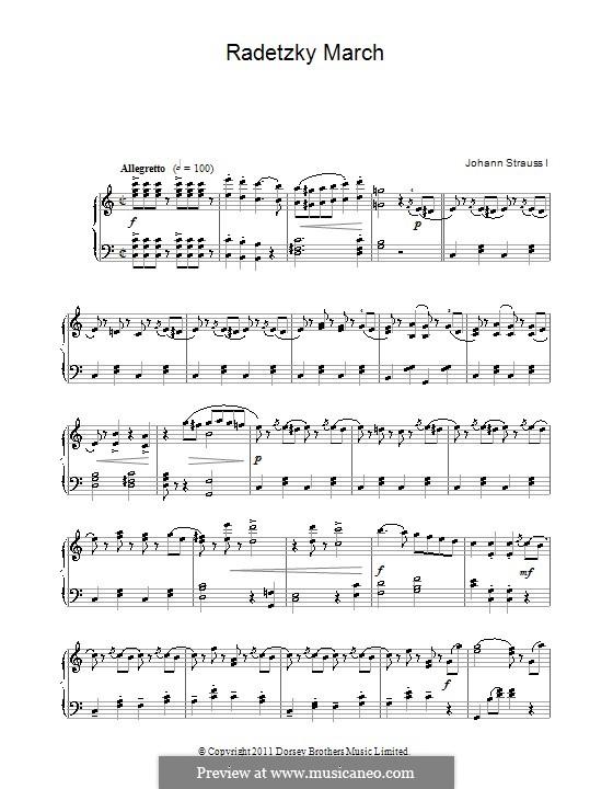Radetzky March, Op.228: Para Piano by Johann Strauss Sr.