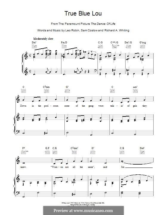 True Blue Lou: Para vocais e piano (ou Guitarra) by Richard A. Whiting