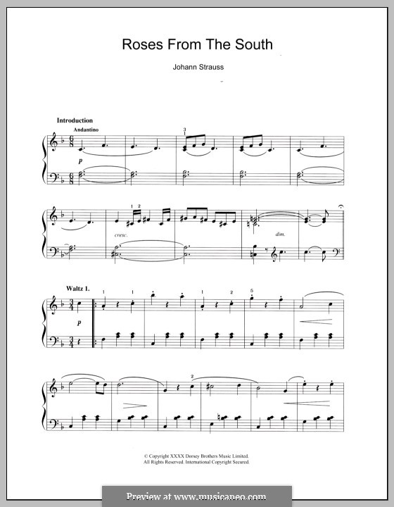 Roses from the South, Op.388: Para Piano by Johann Strauss (Sohn)