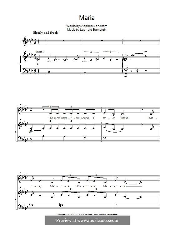 Maria: Para vocais e piano by Leonard Bernstein