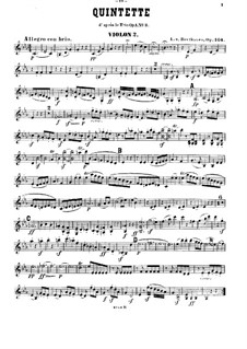 String Quintet No.3 in C Minor, Op.104: violino parte II by Ludwig van Beethoven