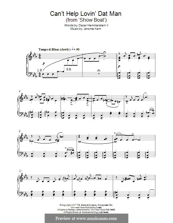 Can't Help Lovin' Dat Man (from Show Boat): Para Piano by Jerome Kern