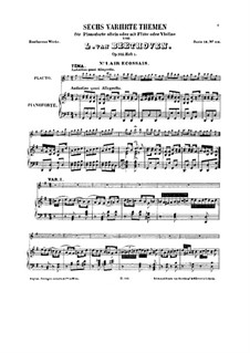 Six Themes and Variations, Op.105: For flute (or violin) and piano (Book I) by Ludwig van Beethoven
