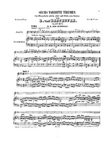 Six Themes and Variations, Op.105: For flute (or violin) and piano (Book II) by Ludwig van Beethoven