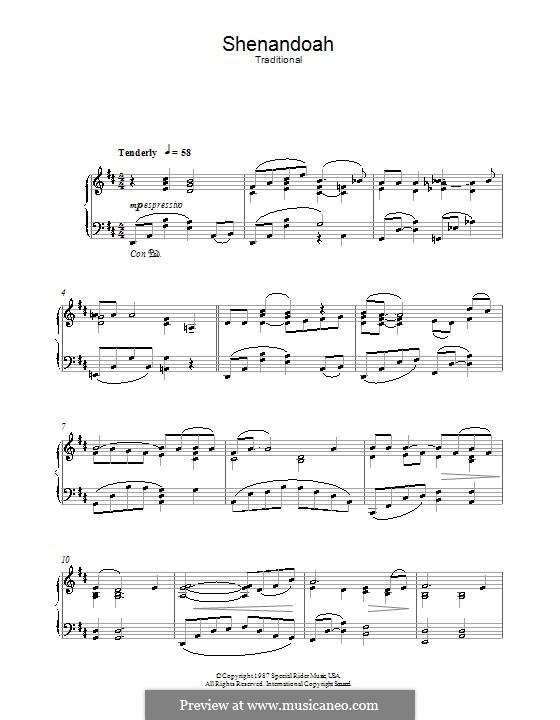 Shenandoah: Para Piano by folklore