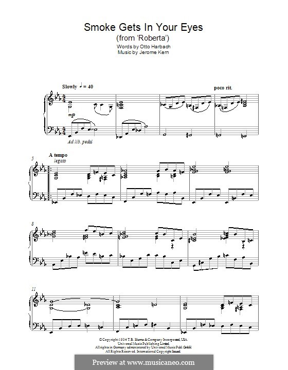 Smoke Gets in Your Eyes (from 'Roberta'): Para Piano by Jerome Kern
