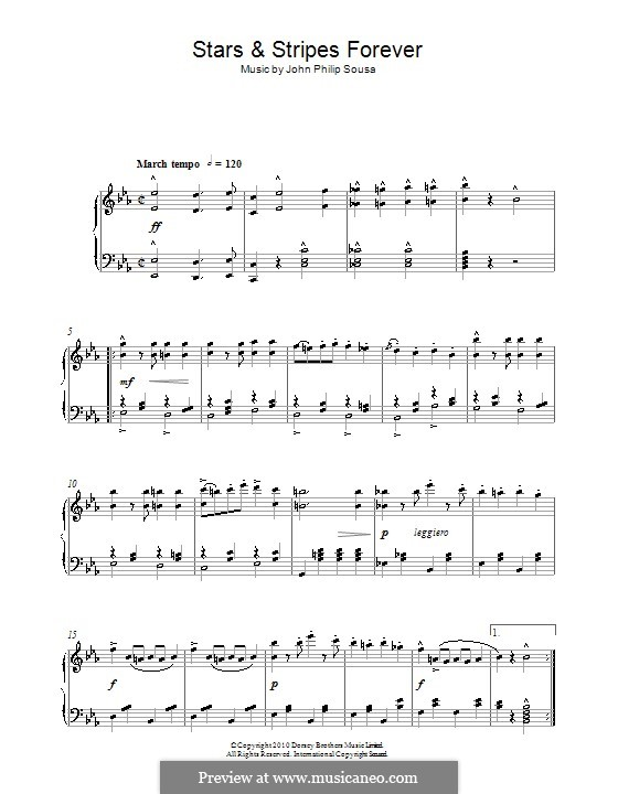 Stars and Stripes Forever : Para Piano by John Philip Sousa