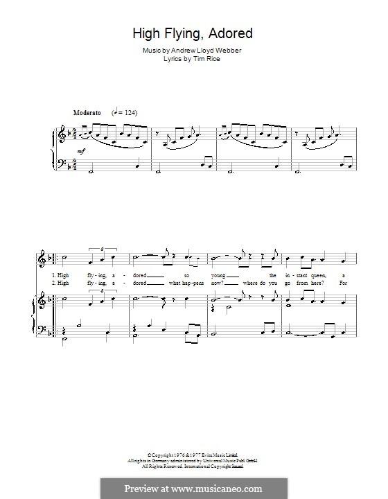 High Flying, Adored: Para vocais e piano by Andrew Lloyd Webber