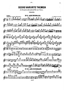 Six Themes and Variations, Op.105: parte do violino by Ludwig van Beethoven