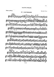 Ten Themes with Variations for Flute (or Violin) and Piano, Op.107: Book I – solo part by Ludwig van Beethoven