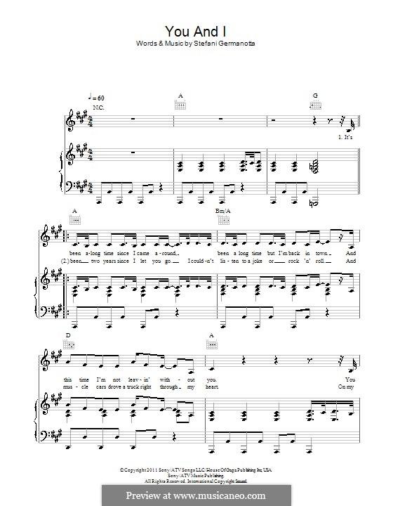You and I (Lady Gaga): Para vocais e piano (ou Guitarra) by Stefani Germanotta