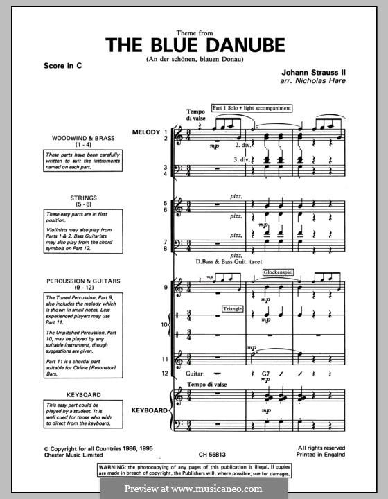 On the Beautiful Blue Danube, Op.314: Pacote de banda da sala de aula by Johann Strauss (Sohn)