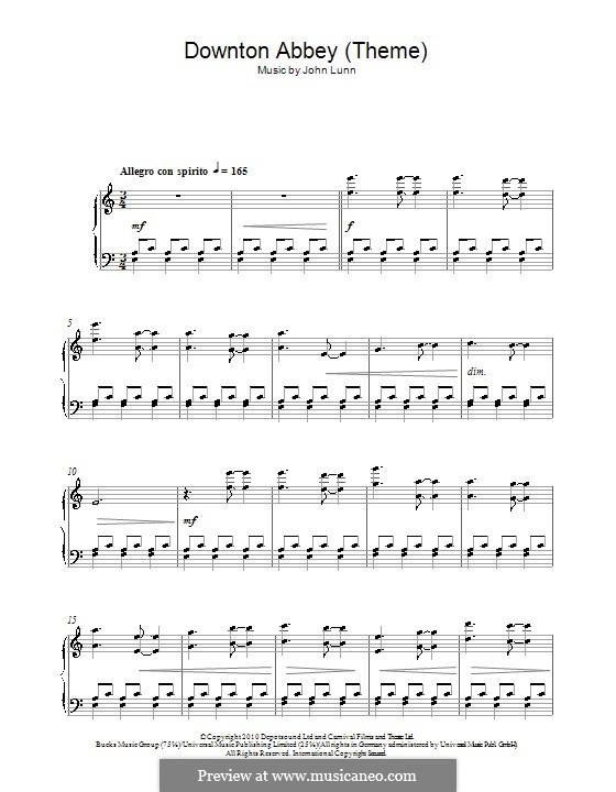 Downton Abbey (Theme): Para Piano by John Lunn
