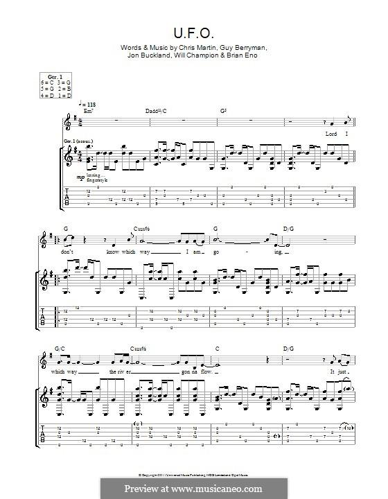 U.F.O. (Coldplay): Para guitarra com guia by Brian Eno, Chris Martin, Guy Berryman, Jonny Buckland, Will Champion