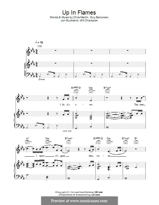 Up in Flames (Coldplay): Para vocais e piano (ou Guitarra) by Chris Martin, Guy Berryman, Jonny Buckland, Will Champion