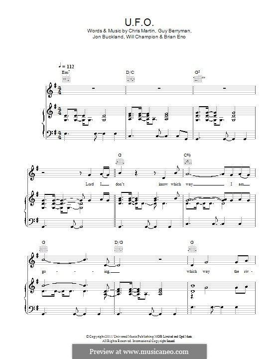 U.F.O. (Coldplay): Para vocais e piano (ou Guitarra) by Brian Eno, Chris Martin, Guy Berryman, Jonny Buckland, Will Champion