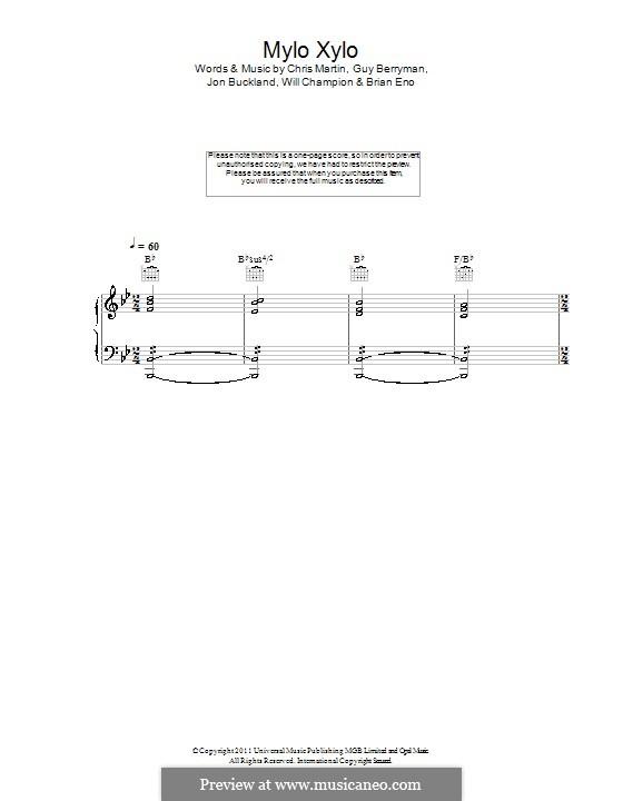 Mylo Xyloto (Coldplay): Para vocais e piano (ou Guitarra) by Brian Eno, Chris Martin, Guy Berryman, Jonny Buckland, Will Champion