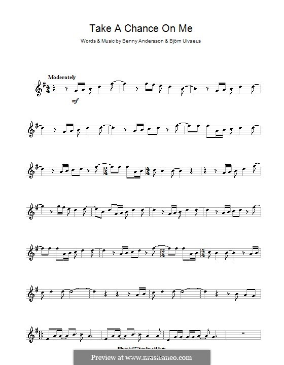 Take a Chance on Me (ABBA): para Saxofone Alto by Benny Andersson, Björn Ulvaeus
