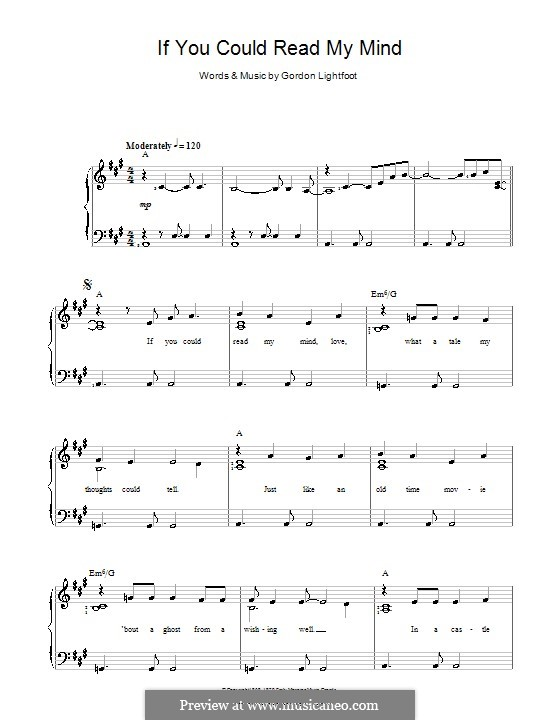 If You Could Read My Mind: Para vocais e piano by Gordon Lightfoot