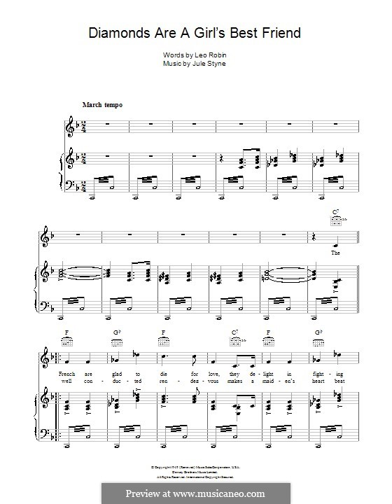 Diamonds are a Girl's Best Friend (Marilyn Monroe): Para vocais e piano (ou Guitarra) by Jule Styne