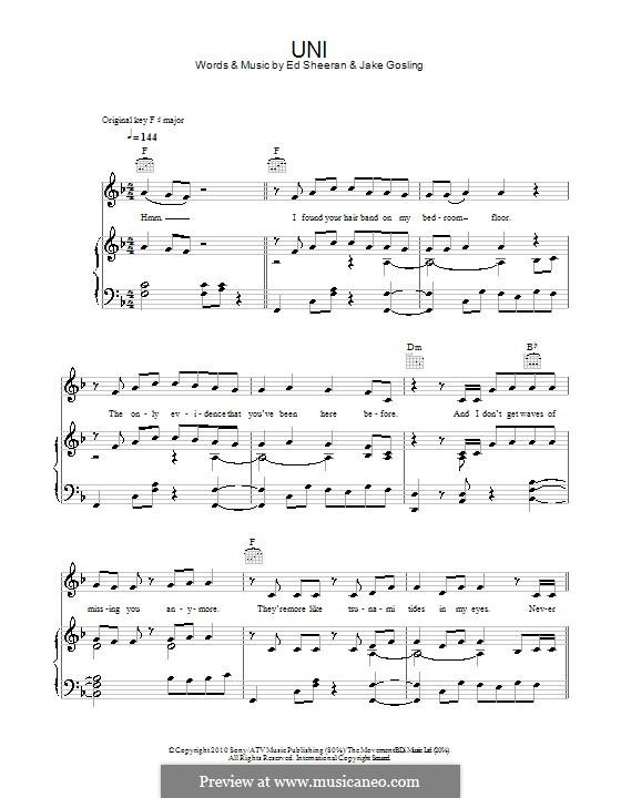 U.N.I: Para vocais e piano (ou Guitarra) by Ed Sheeran, Jake Gosling