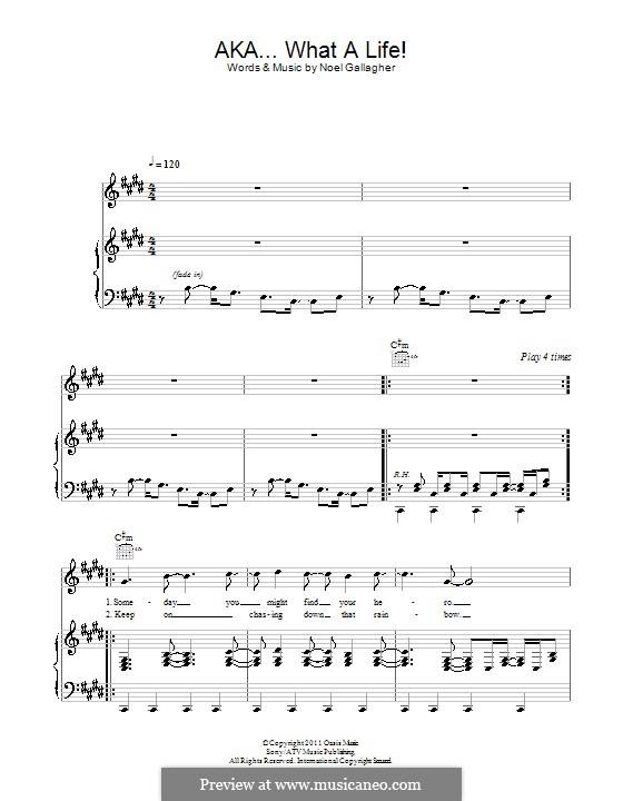 AKA... What a Life! (Noel Gallagher's High Flying Birds): Para vocais e piano (ou Guitarra) by Noel Gallagher