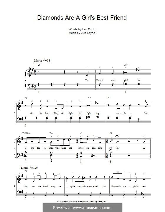 Diamonds are a Girl's Best Friend (Marilyn Monroe): Facil para o piano by Jule Styne