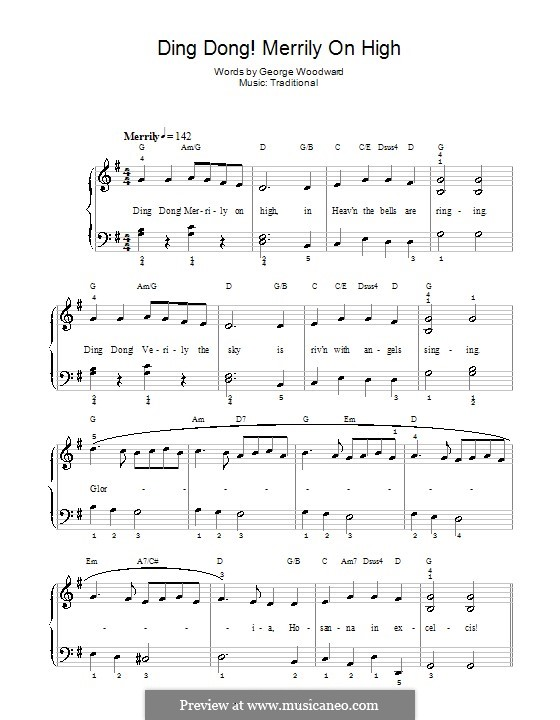 Ding Dong! Merrily on High (Printable Scores): para piano (com acordes) by folklore