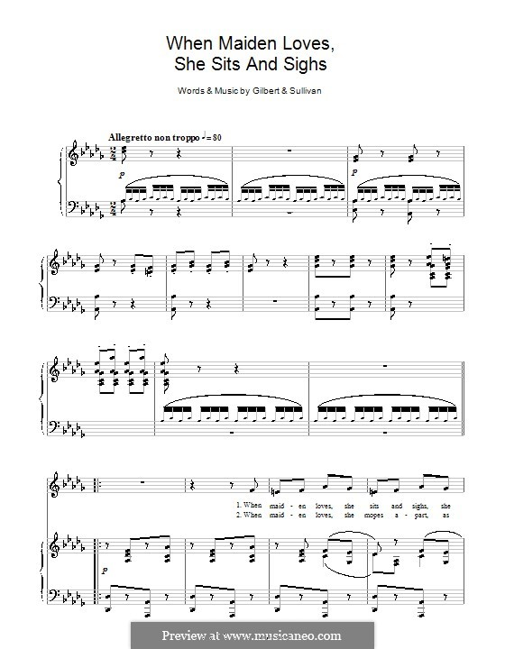 When Maiden Loves She Sits and Sighs: Para vocais e piano by Arthur Seymour Sullivan
