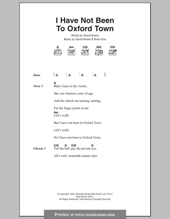 I Have Not Been to Oxford Town: Letras e Acordes by Brian Eno, David Bowie