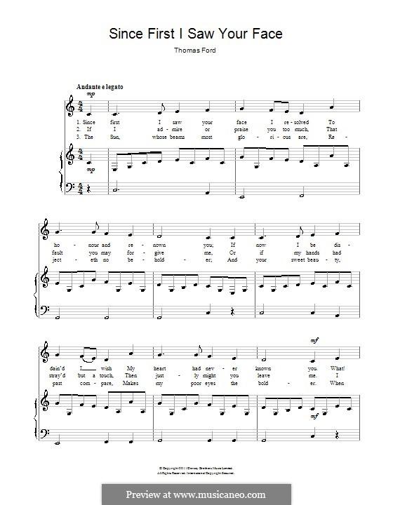 Since First I Saw Your Face: Para vocais e piano by Thomas Ford