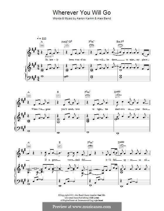 Wherever You Will Go (The Calling) por A. Kamin, A. Band em músicaNeo