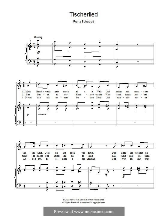 Tischlerlied (Carpenter's Song), D.274: Para vocais e piano by Franz Schubert