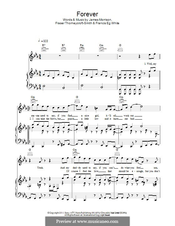 Forever: Para vocais e piano (ou Guitarra) by Eg White, Fraser T. Smith, James Morrison