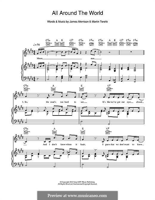 All Around the World: Para vocais e piano (ou Guitarra) by James Morrison, Martin Terefe